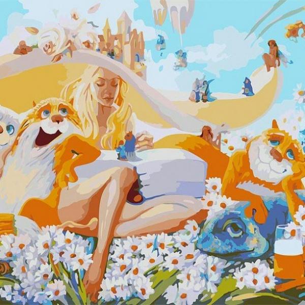Купить Раскраски по номерам - Картина Блондинка, 40 х 50 см., Белоснежка