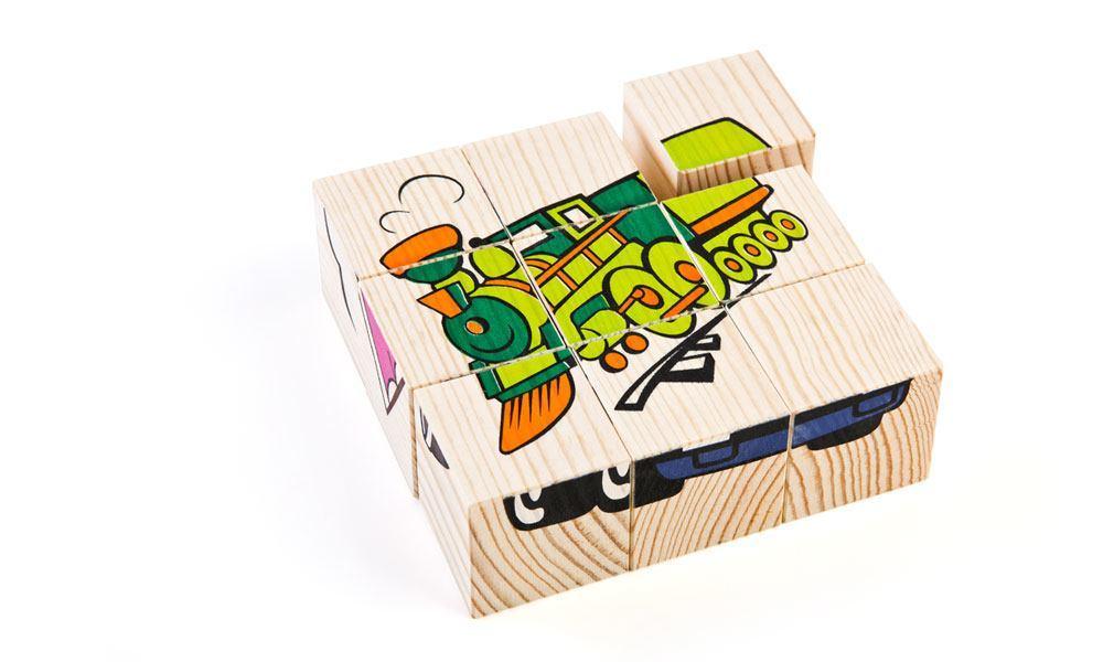 Набор из 9-и кубиков - Транспорт из серии Собери картинкуКубики и конструкторы<br>Набор из 9-и кубиков - Транспорт из серии Собери картинку<br>