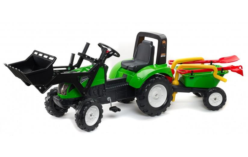 Педальный трактор-экскаватор с прицепом, зеленый, 210 см - Педальные машины и трактора, артикул: 170766