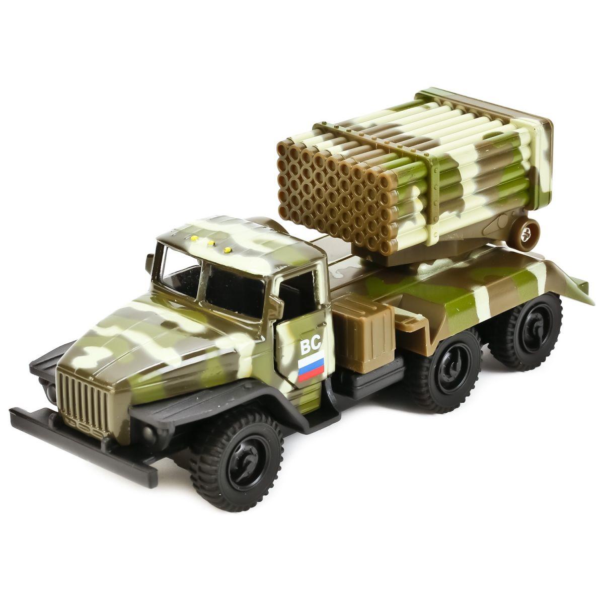 Купить Машина металлическая инерционная – Урал - ракетная установка Град, 12 см, Технопарк
