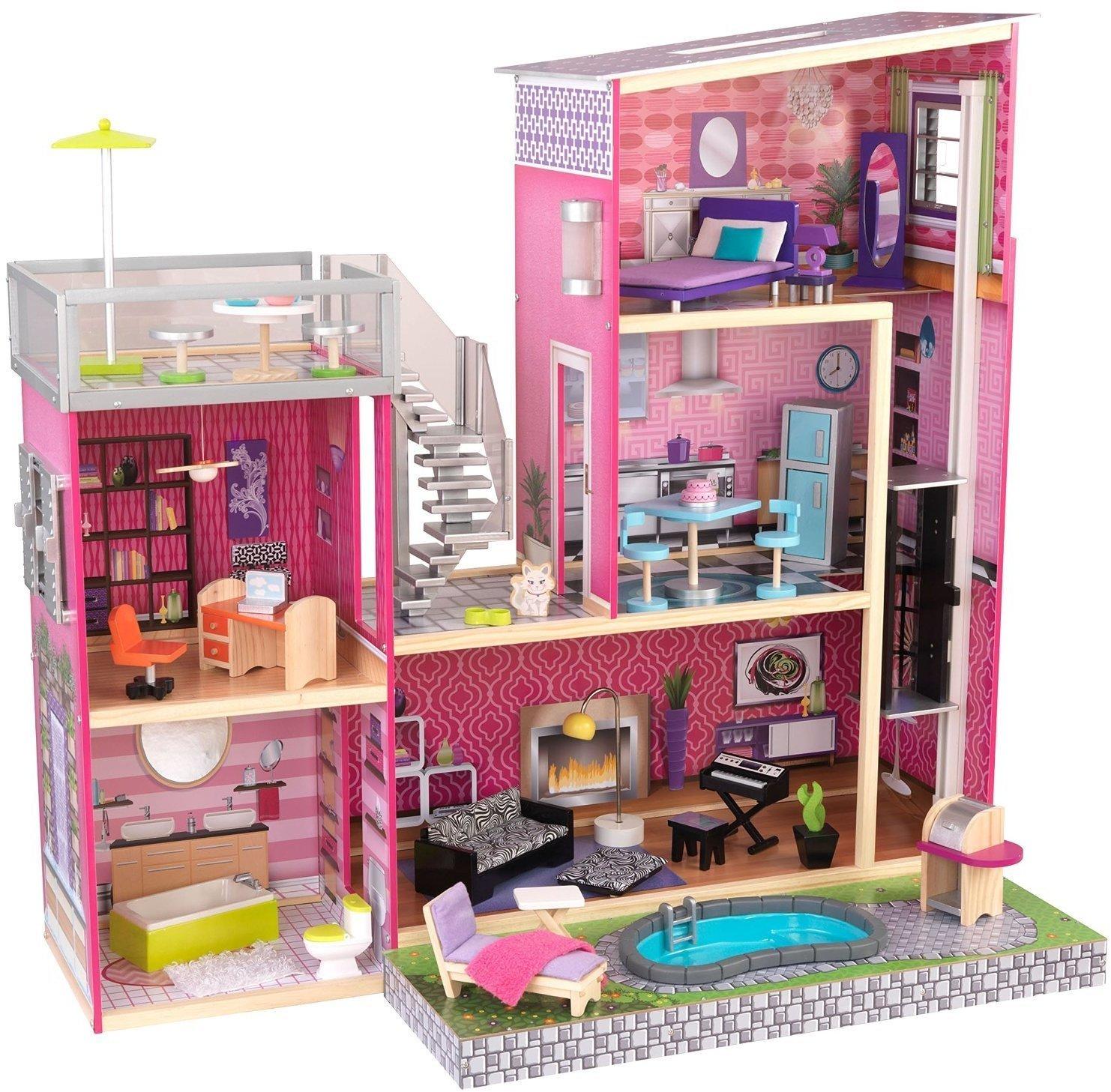 Купить Дом мечты Барби - Глянец, с мебелью 35 предметов и бассейном, KidKraft