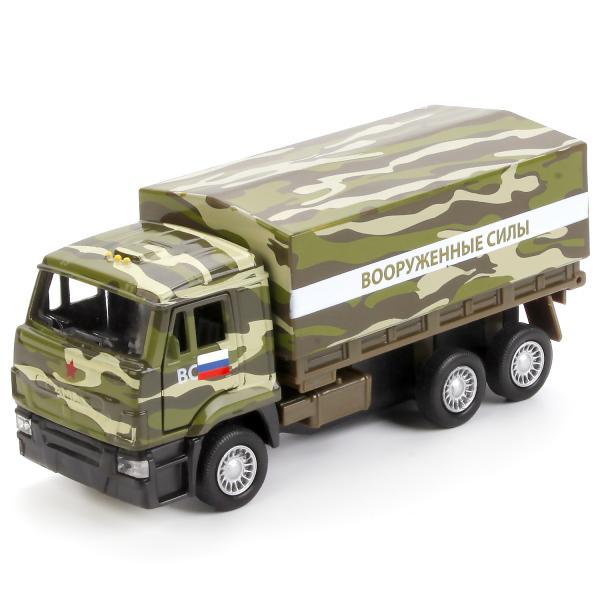 Купить Инерционная модель – Военный бортовой КамАЗ со съемным тентом, 12 см, Технопарк