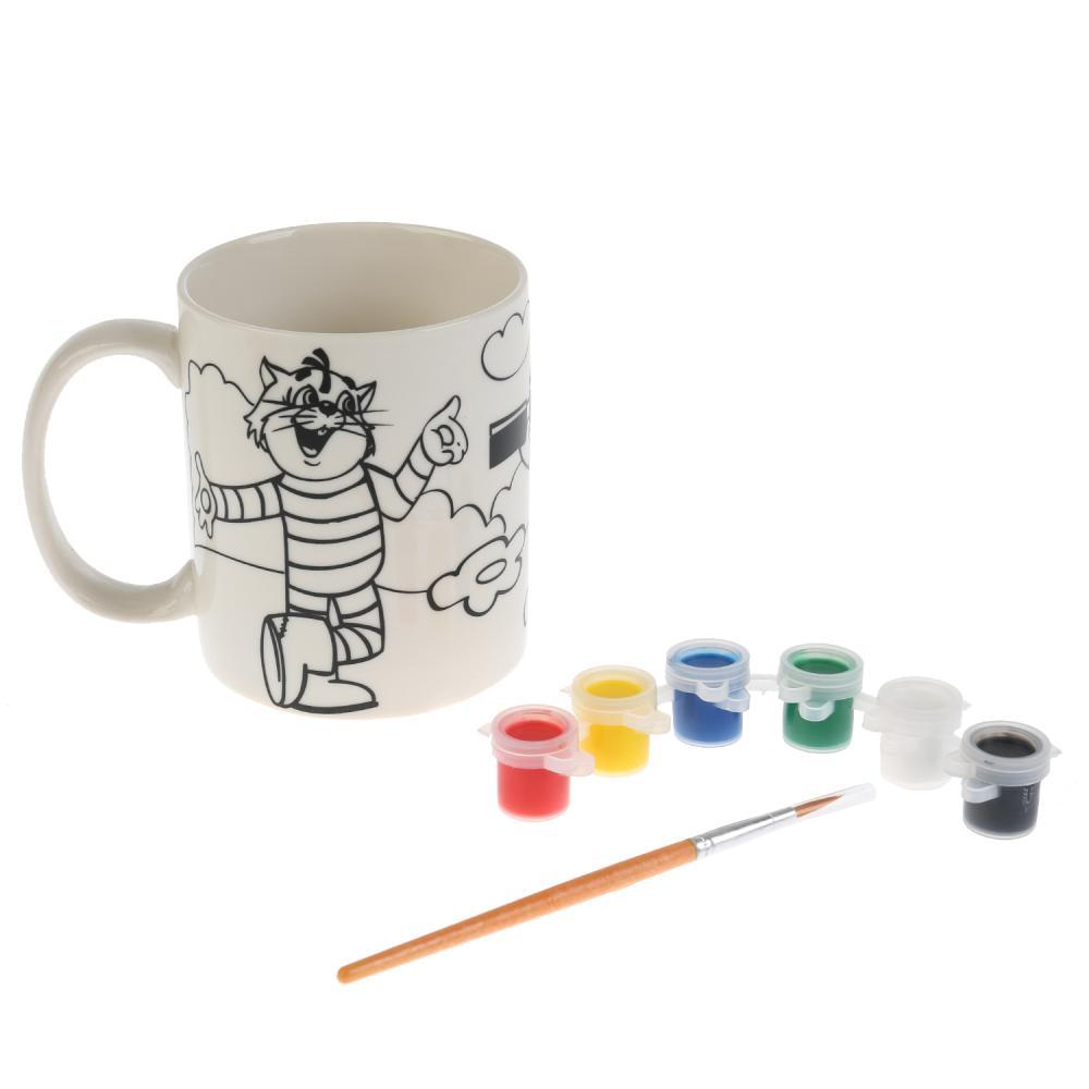 Кружка керамическая для росписи с рисунком Союзмультфильм Простоквашино, с красками и кисточкой фото