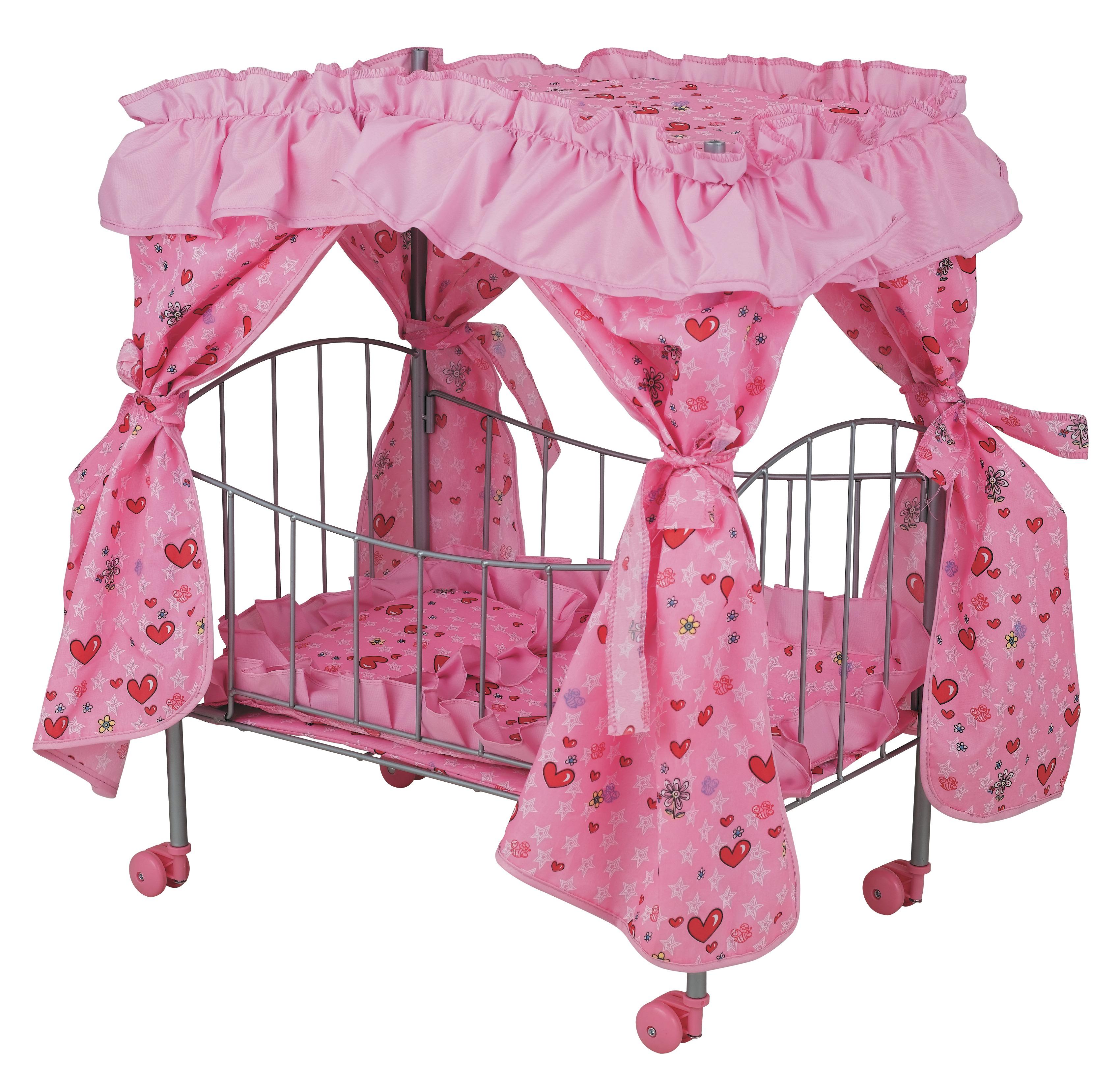 Кроватка для куклы с пологом на колесахДетские кроватки для кукол<br>Размеры: 48 х 31.5 х 59.5 см.<br>