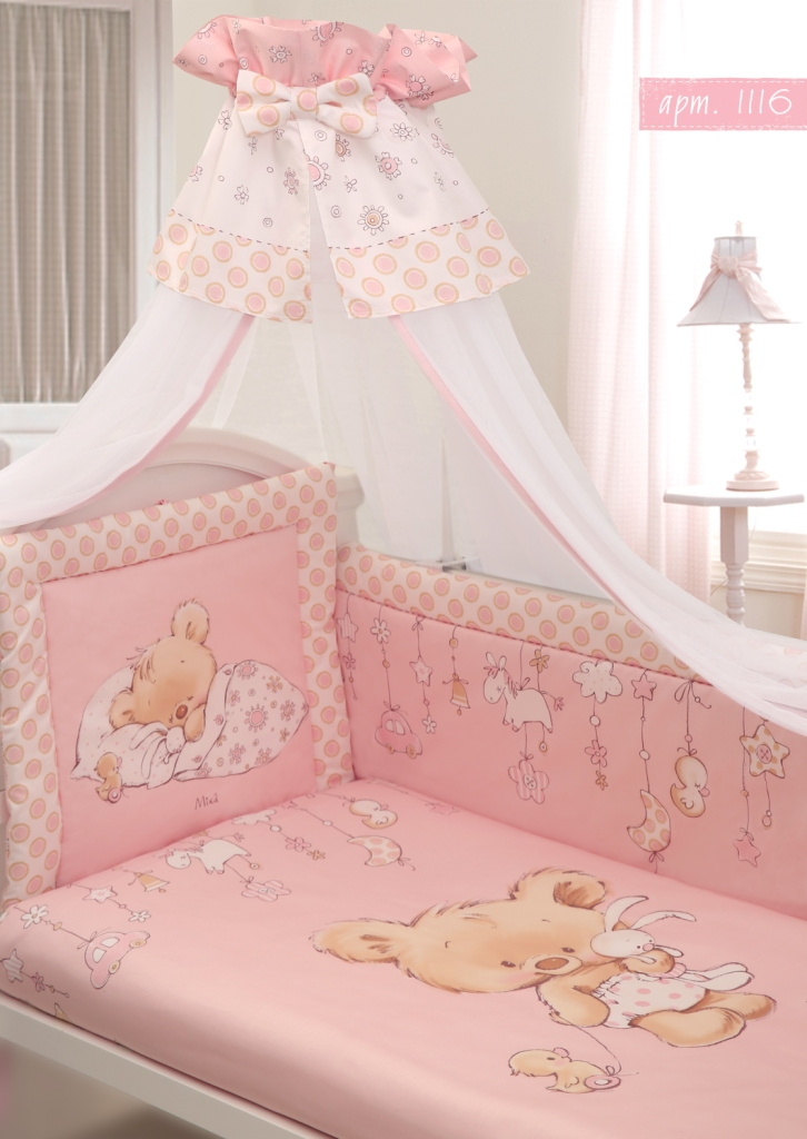 Комплект в кроватку 7 предметов – Mika, сатин, розовыйДетское постельное белье<br>Комплект в кроватку 7 предметов – Mika, сатин, розовый<br>