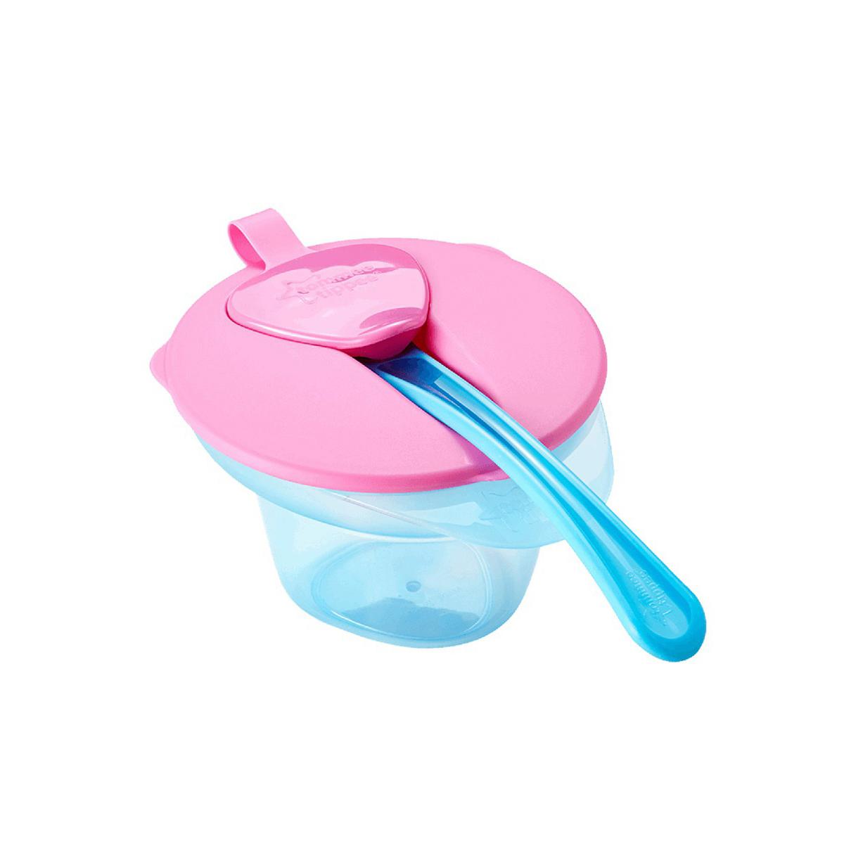 Тарелочка с отделением для разминания и охлаждения пищи, розовая крышка - Столовая и кормление, артикул: 170465