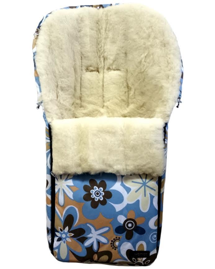 Спальный мешок в коляску №06 –Aurora, бежевые/голубые цветкиЗимние конверты<br>Спальный мешок в коляску №06 –Aurora, бежевые/голубые цветки<br>