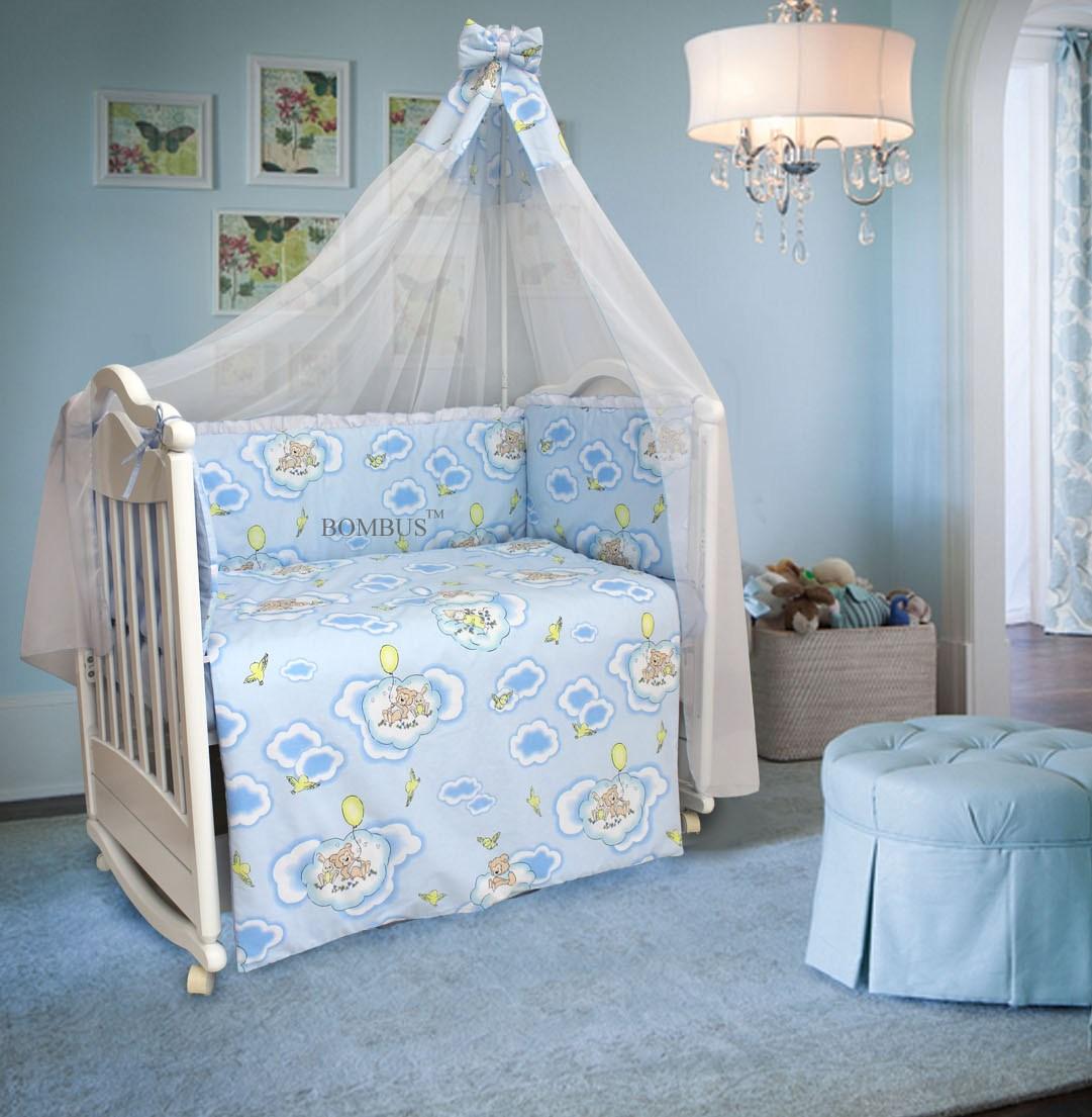Комплект в кроватку - Сладкий сон, 7 предметов, голубойДетское постельное белье<br>Комплект в кроватку - Сладкий сон, 7 предметов, голубой<br>