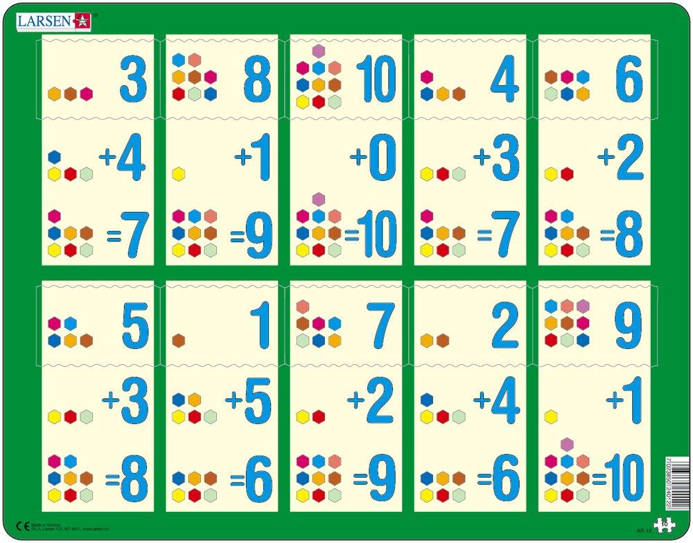 картинка Обучающий пазл - Сложение 1-10b, 10 деталей от магазина Bebikam.ru