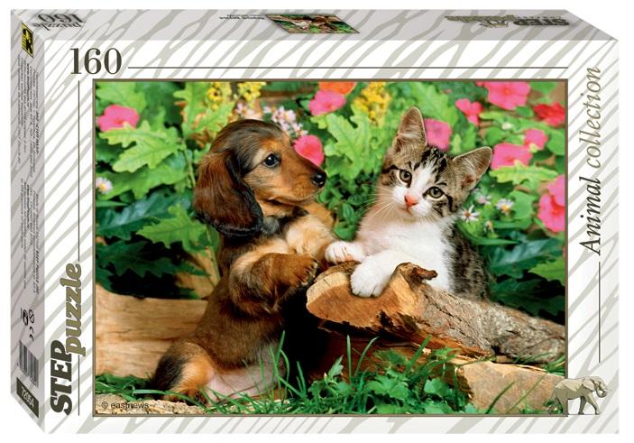 Пазл Верные друзья. Щенок и котенок, 160 элементовПазлы 100+ элементов<br>Пазл Верные друзья. Щенок и котенок, 160 элементов<br>