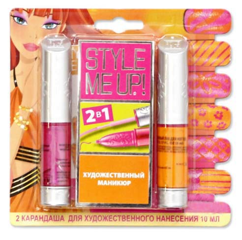 Набор Style Me Up - Художественный маникюр 2 в 1, оранжевый/розовыйЮная модница, салон красоты<br>Набор Style Me Up - Художественный маникюр 2 в 1, оранжевый/розовый<br>