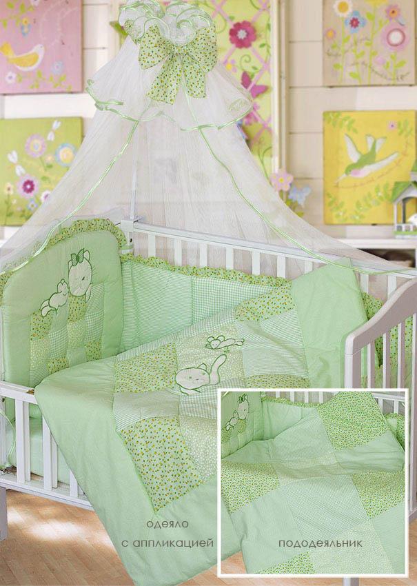 Комплект - Кошки-мышки, зеленыйДетское постельное белье<br>Комплект - Кошки-мышки, зеленый<br>