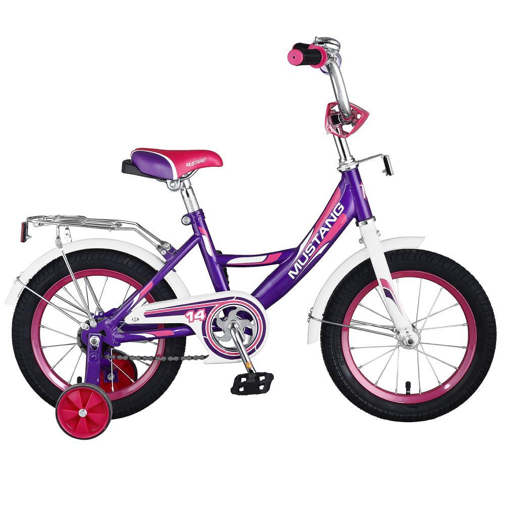 Купить Детский велосипед – Mustang, колеса 14 дюйм, А-тип, багажник страховочные колеса, звонок, фиолетово-белый