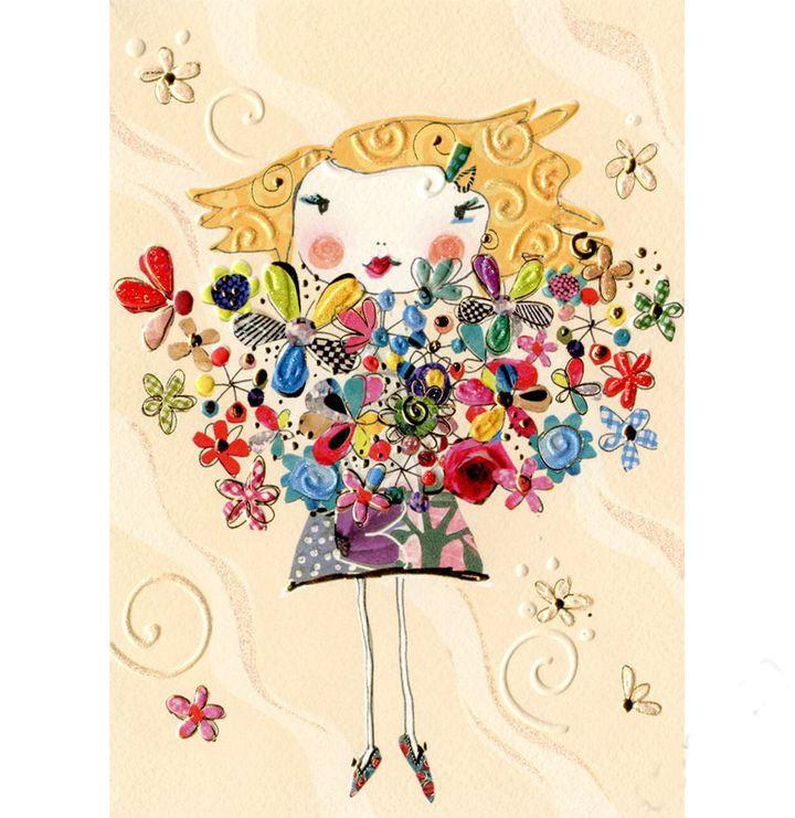 Купить Открытка - Девочка с цветами, Turnowsky