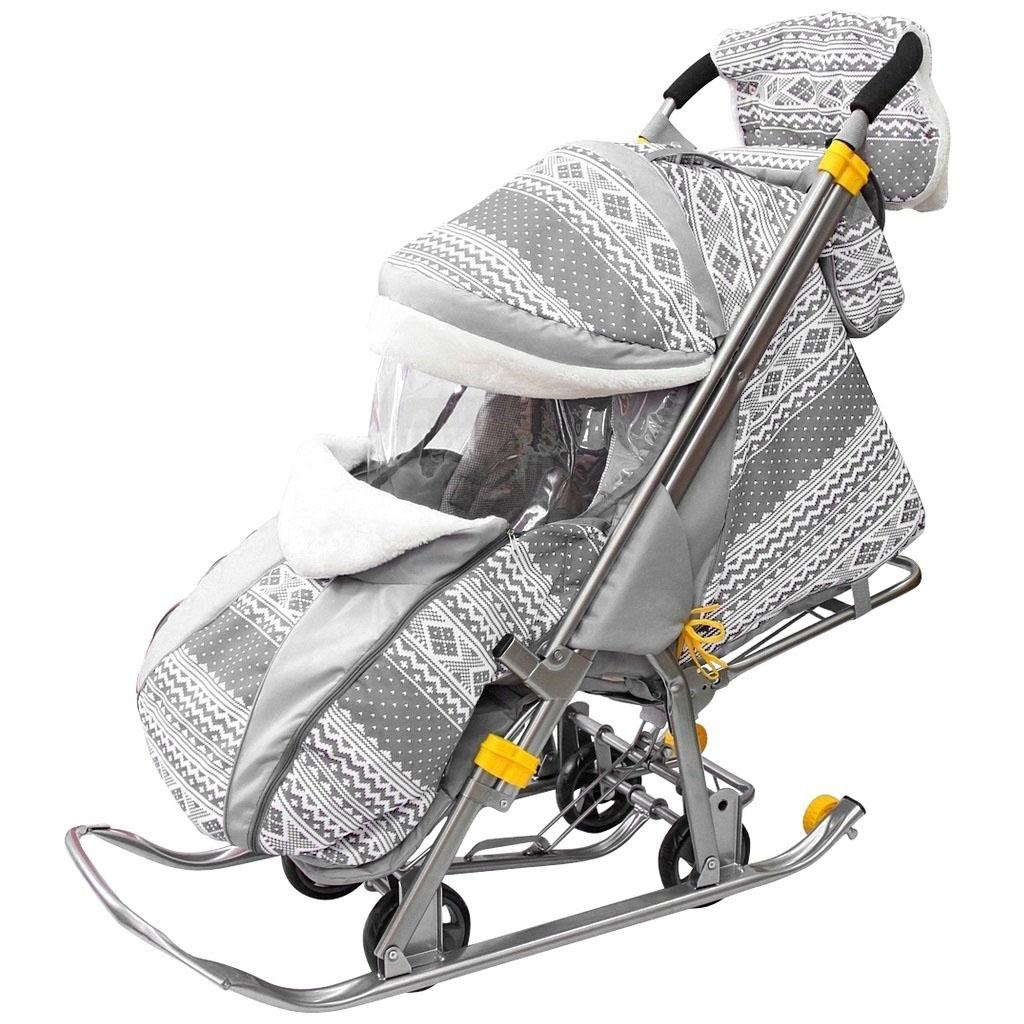 Санки-коляска Snow Galaxy Luxe, цвет – серая, на больших мягких колесах, с сумкой и муфтой
