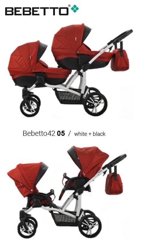 Купить Модульная детская коляска 2 в 1 для двойни Bebetto 42 2017 - шасси белая/bia – 05