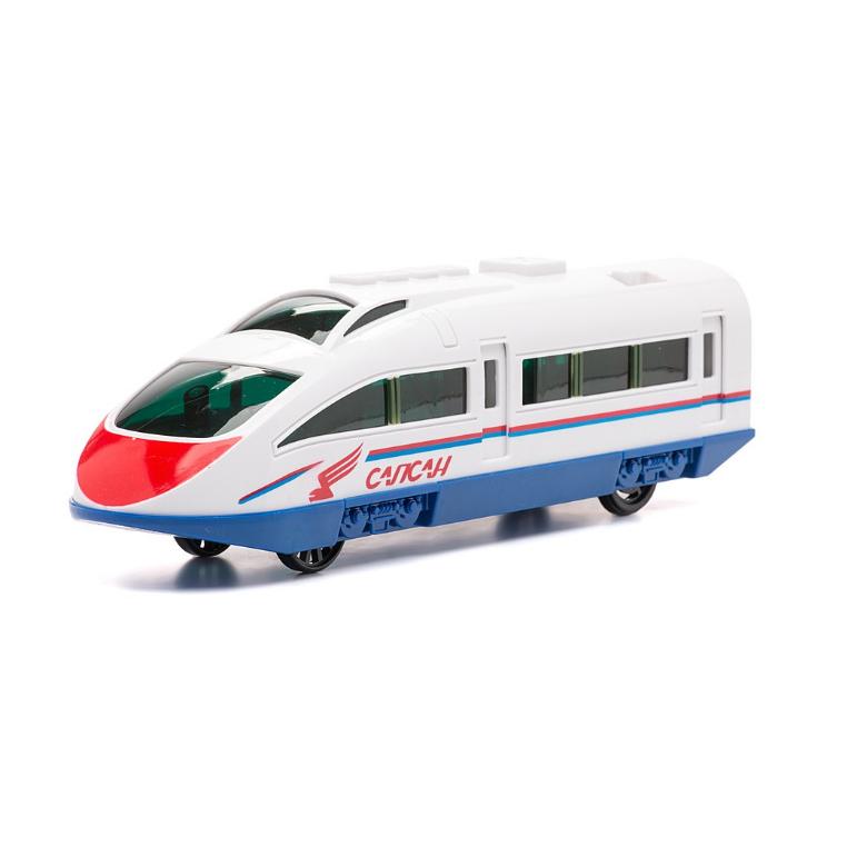 Поезд Сапсан Ржд, металлический инерционный, свет и звук, открываются двериДетская железная дорога<br>Поезд Сапсан Ржд, металлический инерционный, свет и звук, открываются двери<br>
