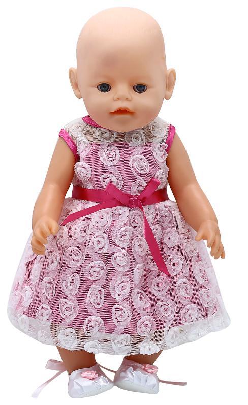 Купить Одежда для кукол: платье с гипюром розового цвета, JUNFA TOYS