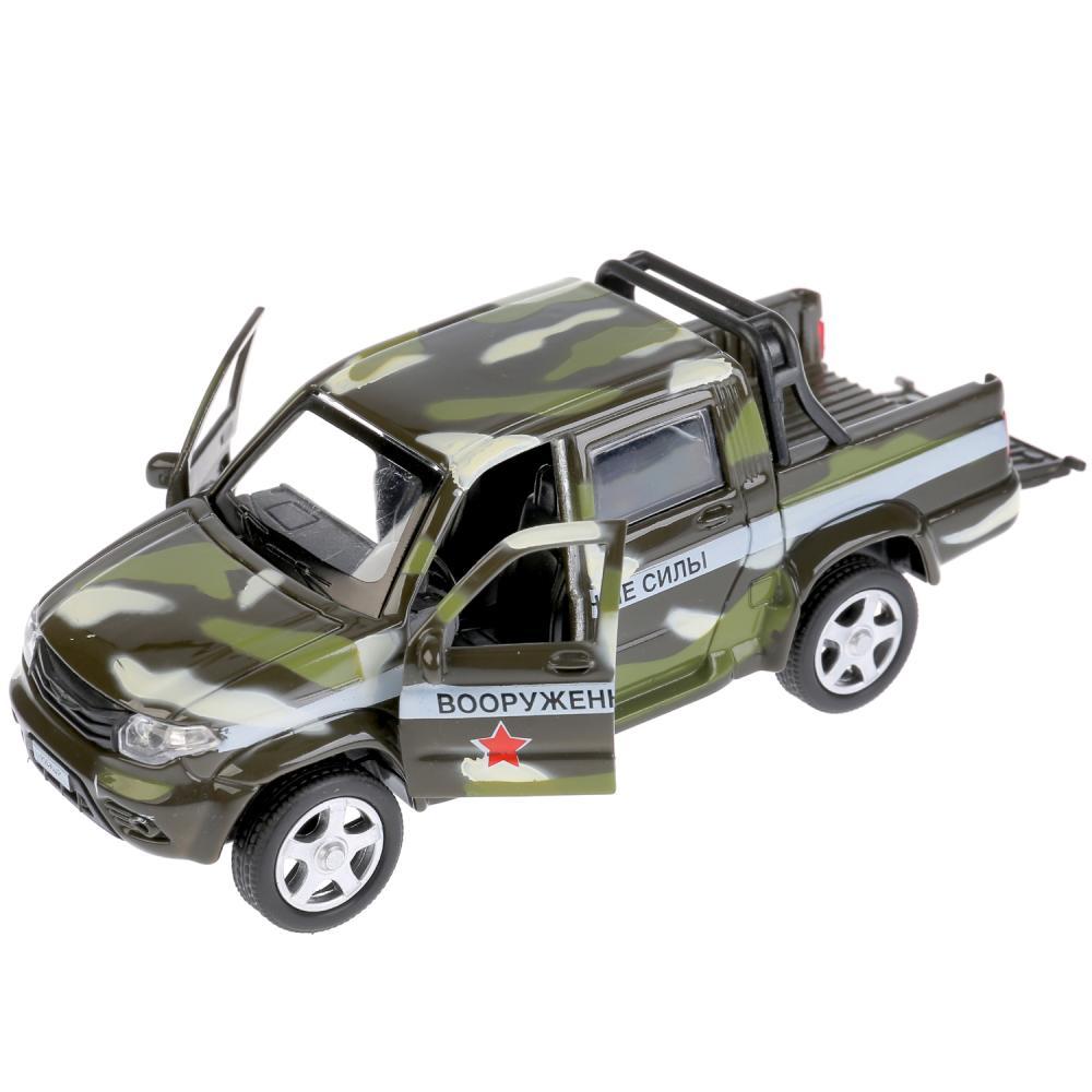 Купить Машина металлическая инерционная - UAZ Pickup - Военный, 12 см, открываются двери, Технопарк