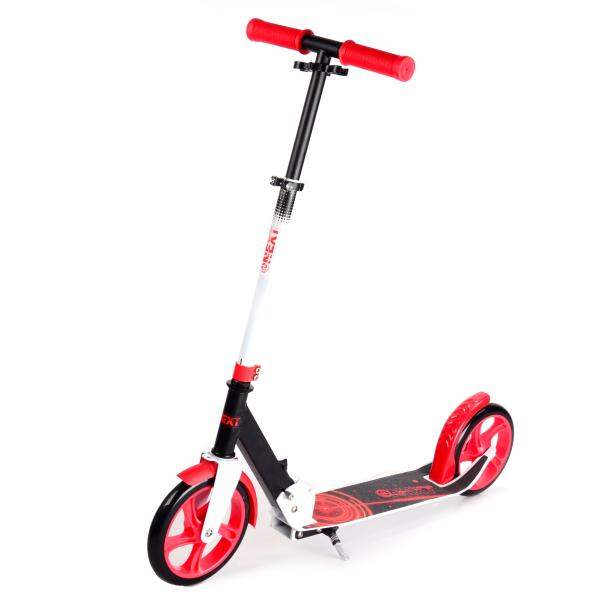 Купить Самокат 2-колесный с алюминиевым корпусом, полиуретановыми колесами 200 мм., черно-красный, Next