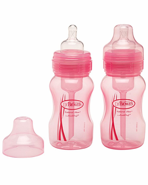 Набор 2-х розовых бутылочек с широким горлышкомБутылочки<br>Набор 2-х розовых бутылочек с широким горлышком<br>