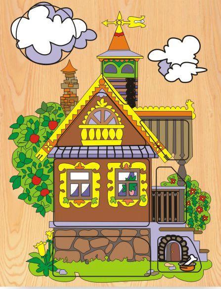 Деревянный пазл в рамке - Деревянный домРамки и паззлы<br>Деревянный пазл в рамке - Деревянный дом<br>