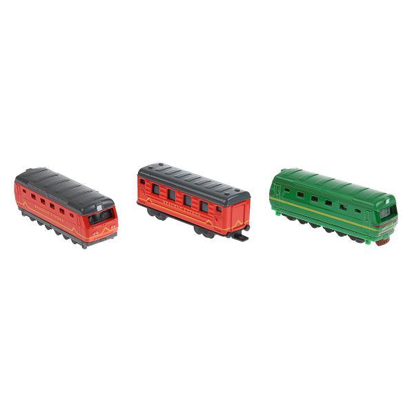 Купить Набор металлических моделей: 2 локомотива 8 см + вагон 7, 5 см, Технопарк