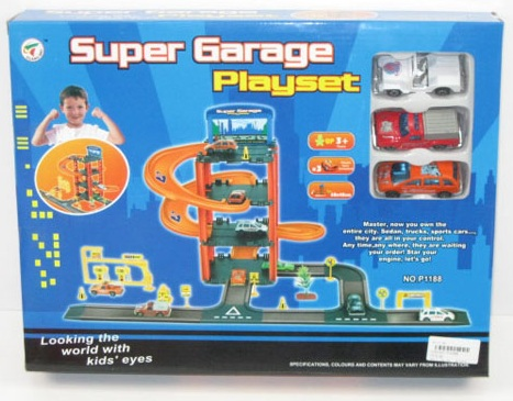 Гараж 4-х уровневый с 3 машинками и аксессуарами, в коробкеДетские парковки и гаражи<br>Гараж 4-х уровневый с 3 машинками и аксессуарами, в коробке<br>