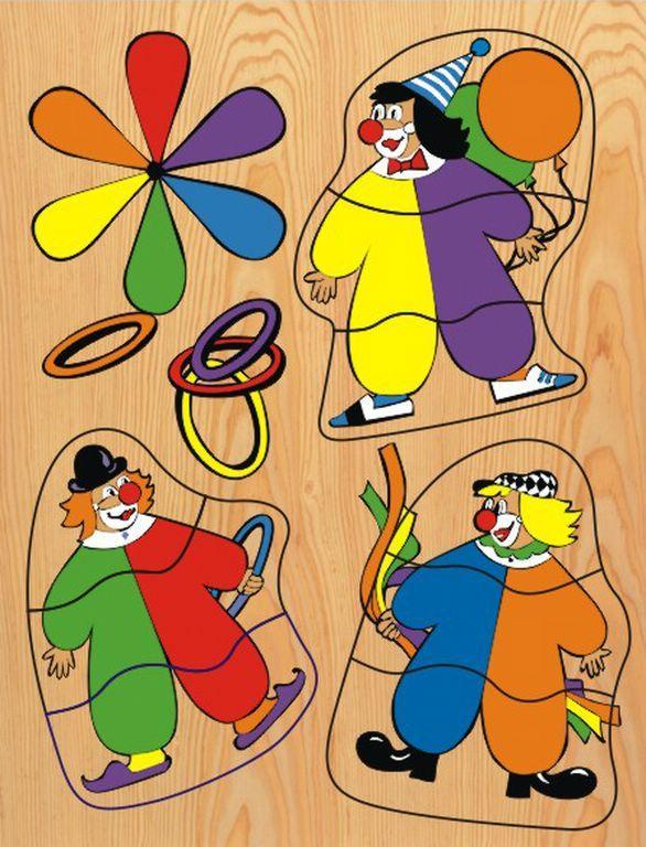 Купить Деревянный пазл в рамке - Клоуны, Wooden Toys