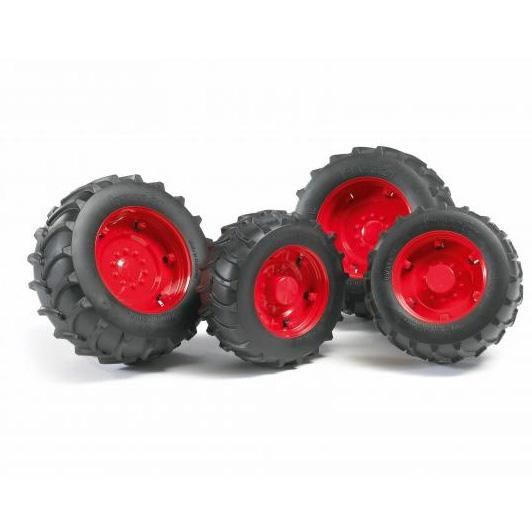 Шины с красными дисками для системы сдвоенных колёс - Игрушки Bruder, артикул: 57107