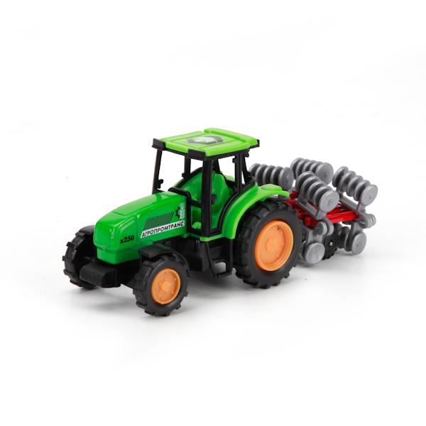 Коллекционная металлическая модель - Трактор с прицепом 14,5 смИгрушечные тракторы<br>Коллекционная металлическая модель - Трактор с прицепом 14,5 см<br>