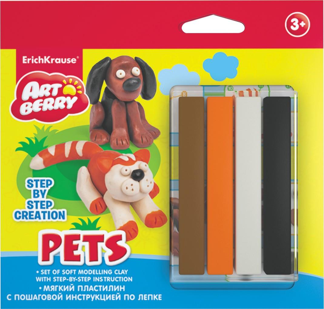 Набор для лепки - Домашние животные, мягкий пластилин 4 цвета, инструкцияНаборы для лепки<br>Набор для лепки - Домашние животные, мягкий пластилин 4 цвета, инструкция<br>