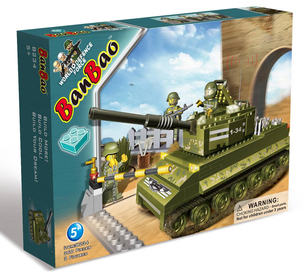 Конструктор Танк, 260 деталейКонструкторы BANBAO<br>Конструктор Танк, 260 деталей<br>