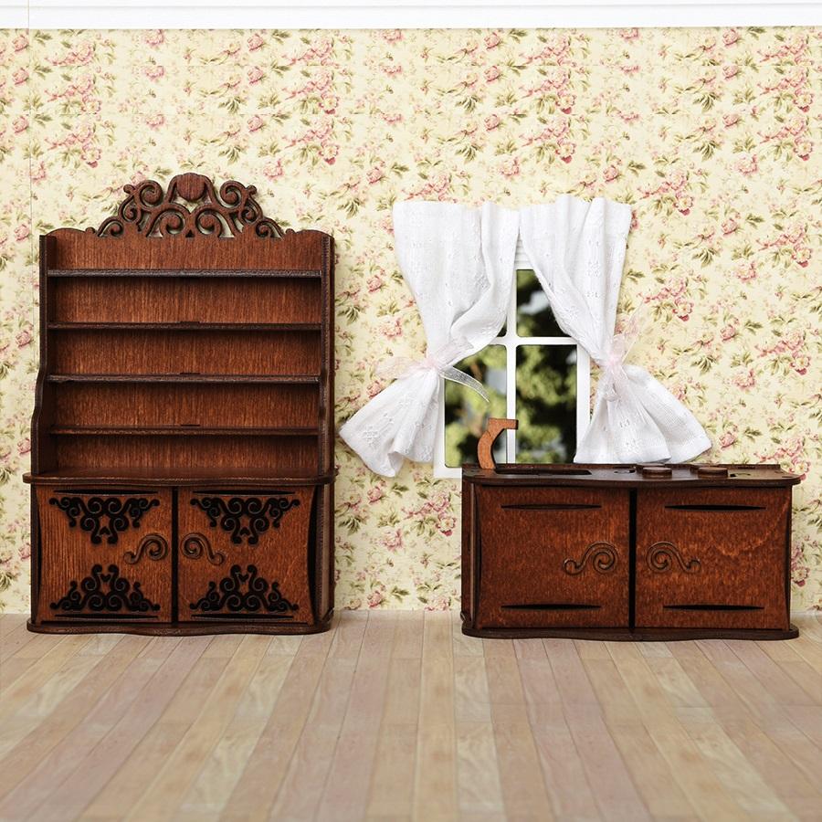 Купить Набор мебели для кукольного домика – Кухня, цвет – коричневый, ЯиГрушка