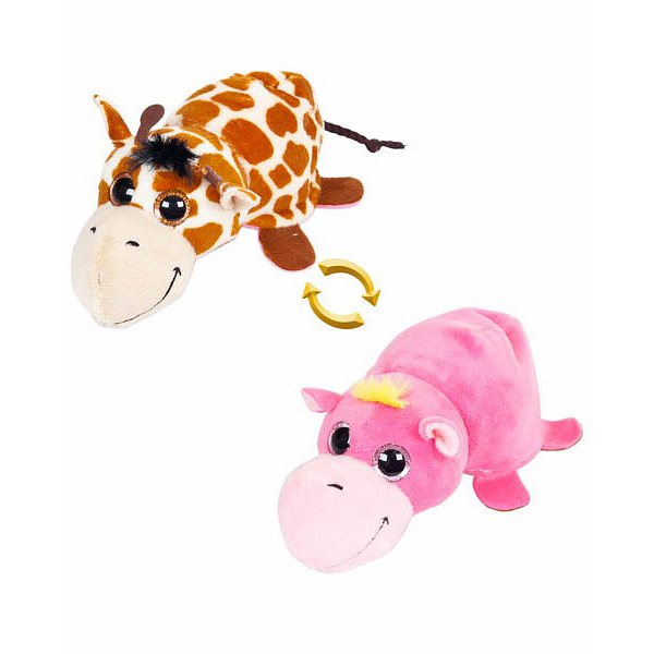 Мягкая игрушка - Перевертыши - Жираф/Бегемотик, 16 смЖивотные<br>Мягкая игрушка - Перевертыши - Жираф/Бегемотик, 16 см<br>