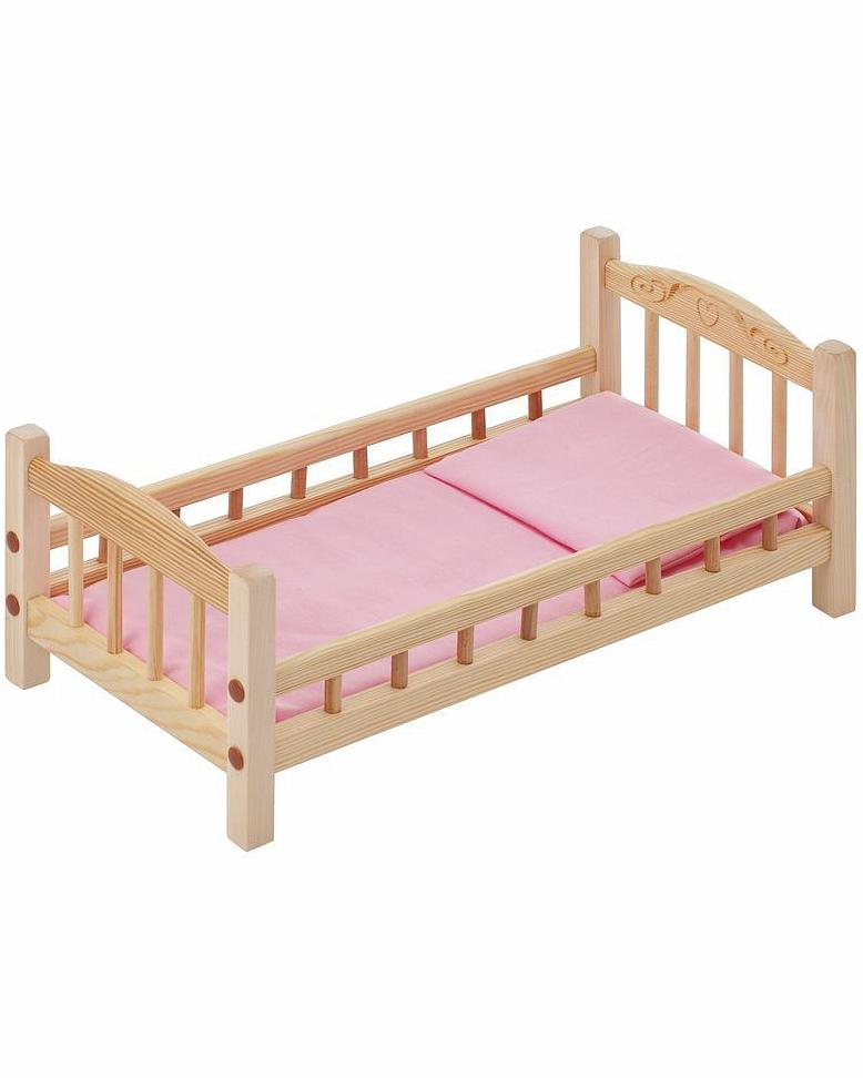 Классическая кроватка для кукол, розовый текстильДетские кроватки для кукол<br>Классическая кроватка для кукол, розовый текстиль<br>