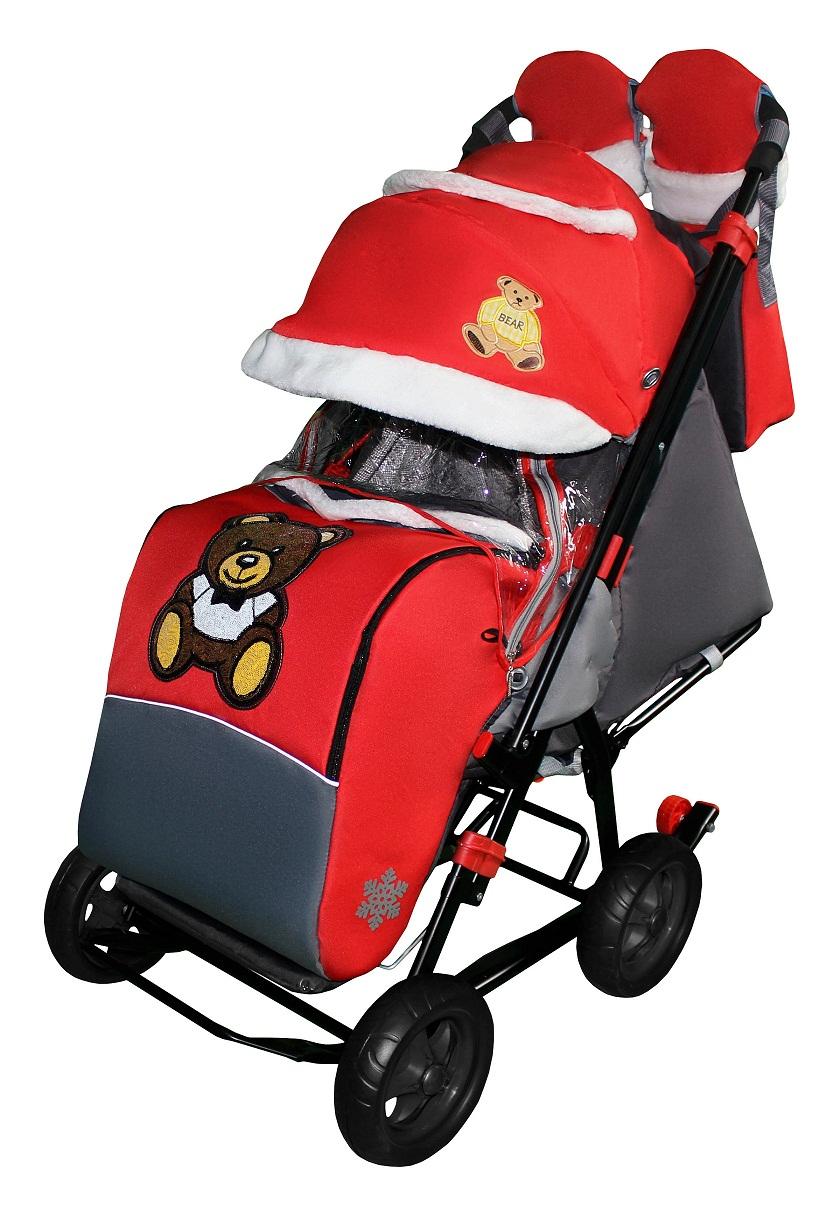 Санки-коляска Snow Galaxy City-1 - Мишка с бабочкой на красном на больших колесах Ева, сумка, варежки RT