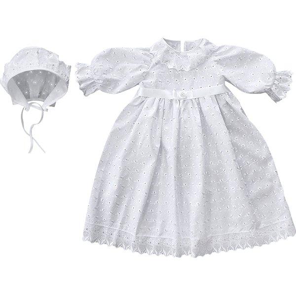 Крестильное платье и чепчик для девочки Золотой гусь
