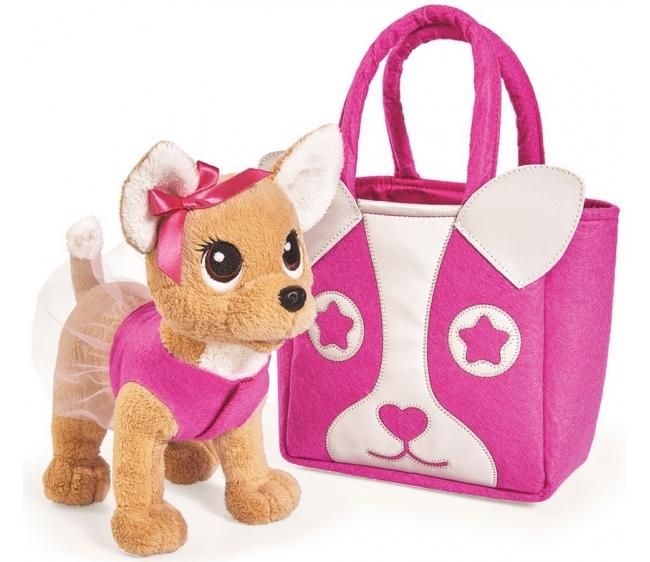 Плюшевая собачка Chi-Chi love  Модница, с сумочкой, 20 см - Chi Chi Love - cобачки в сумочке, артикул: 172377