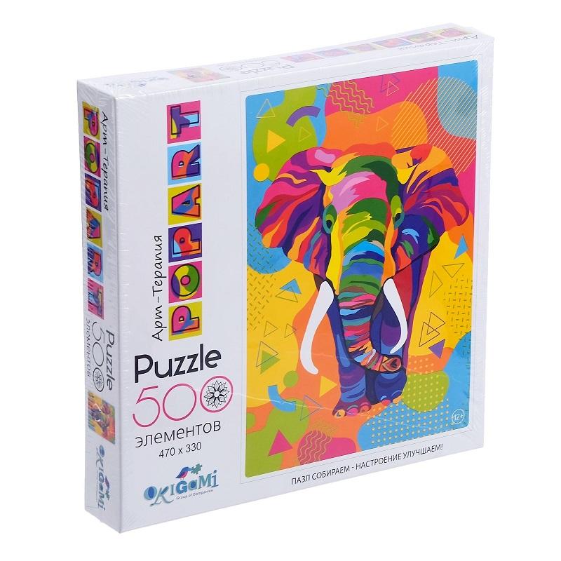 Купить Пазл из серии Арт-терапия. Поп-арт Слон, 500 деталей, Origami