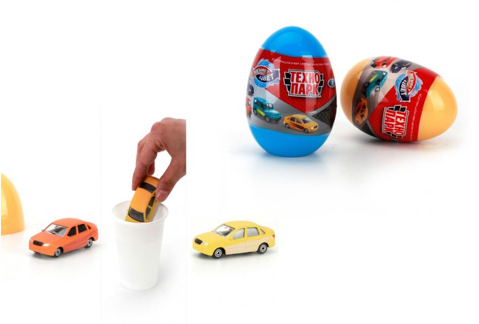 Купить Машина металлическая УАЗ и Лада 7, 5 см в яйце, меняет цвет в воде, Технопарк