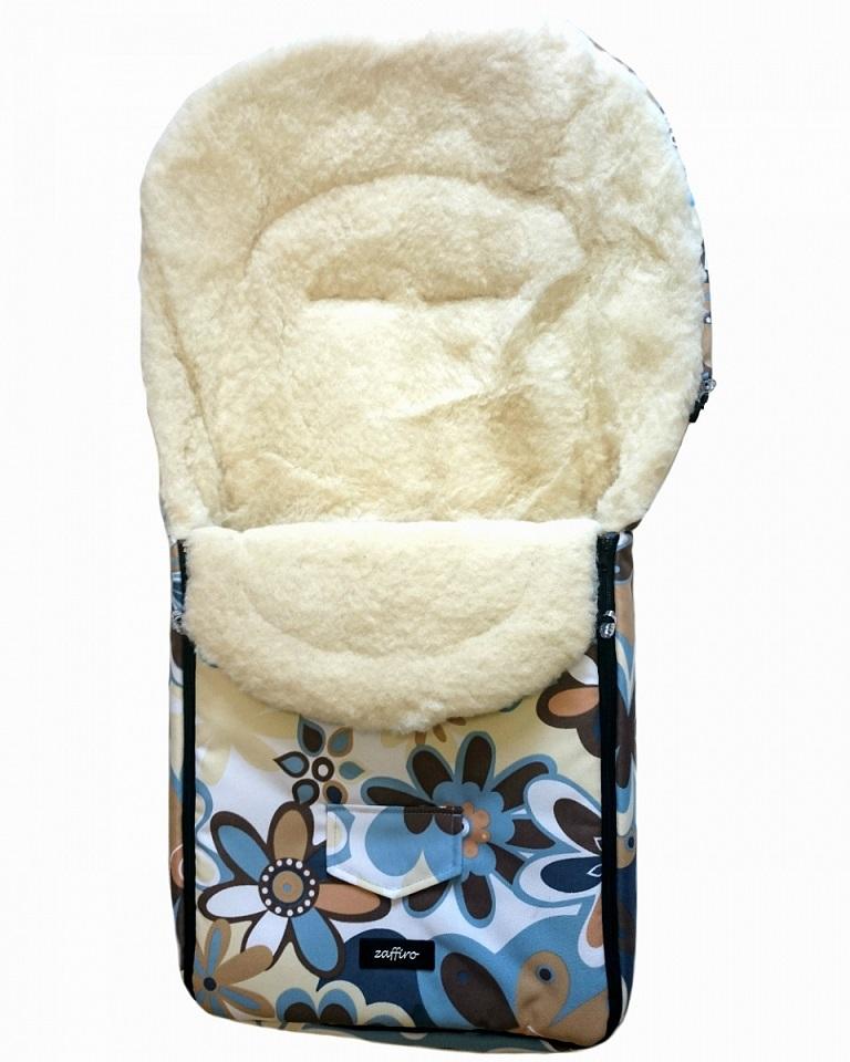 Спальный мешок в коляску №07 из серии North pole, дизайн – бежевые и синие цветы - Прогулки и путешествия, артикул: 171090