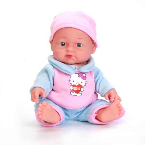 Озвученная кукла Hello Kitty, 24 см, твердое тело, розовая одеждаКуклы Карапуз<br>Озвученная кукла Hello Kitty, 24 см, твердое тело, розовая одежда<br>