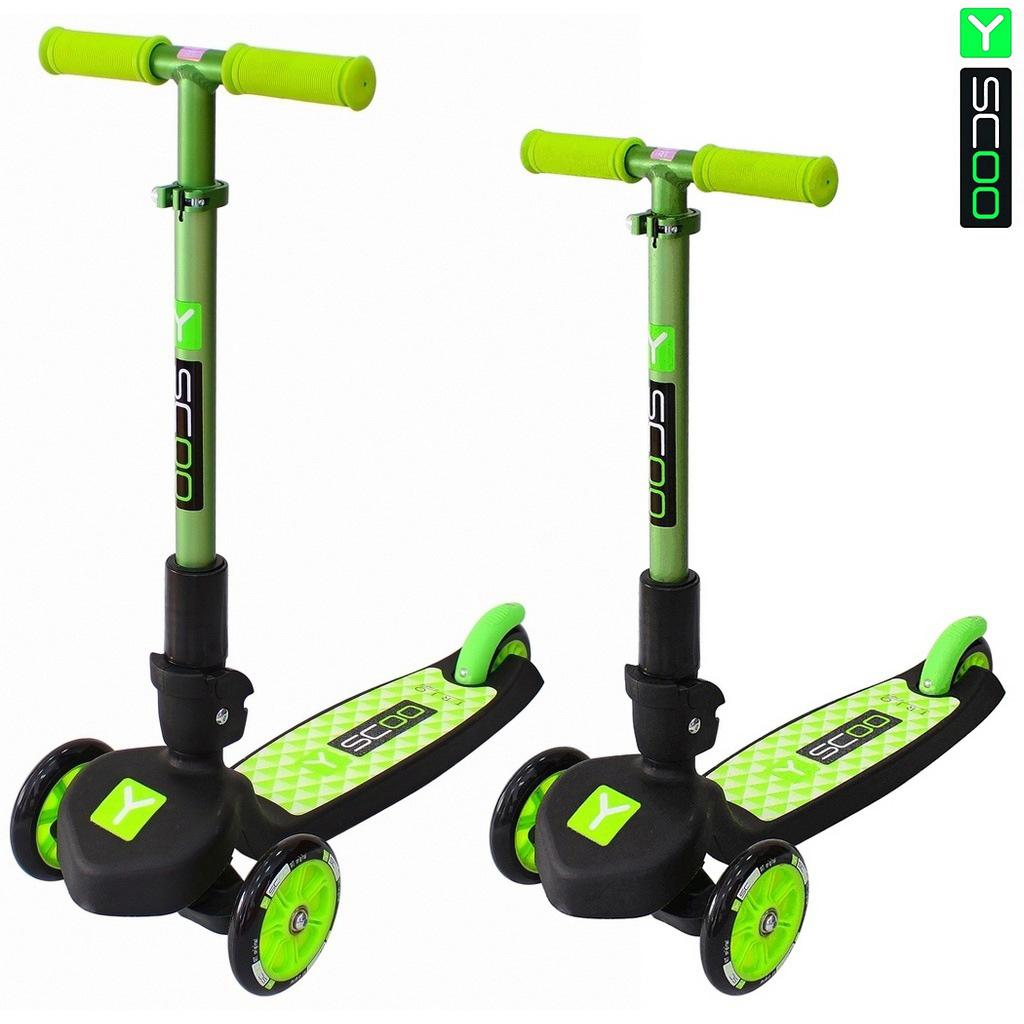 Купить Самокат трехколесный - Y-Scoo Trio Maxi 120, зеленый