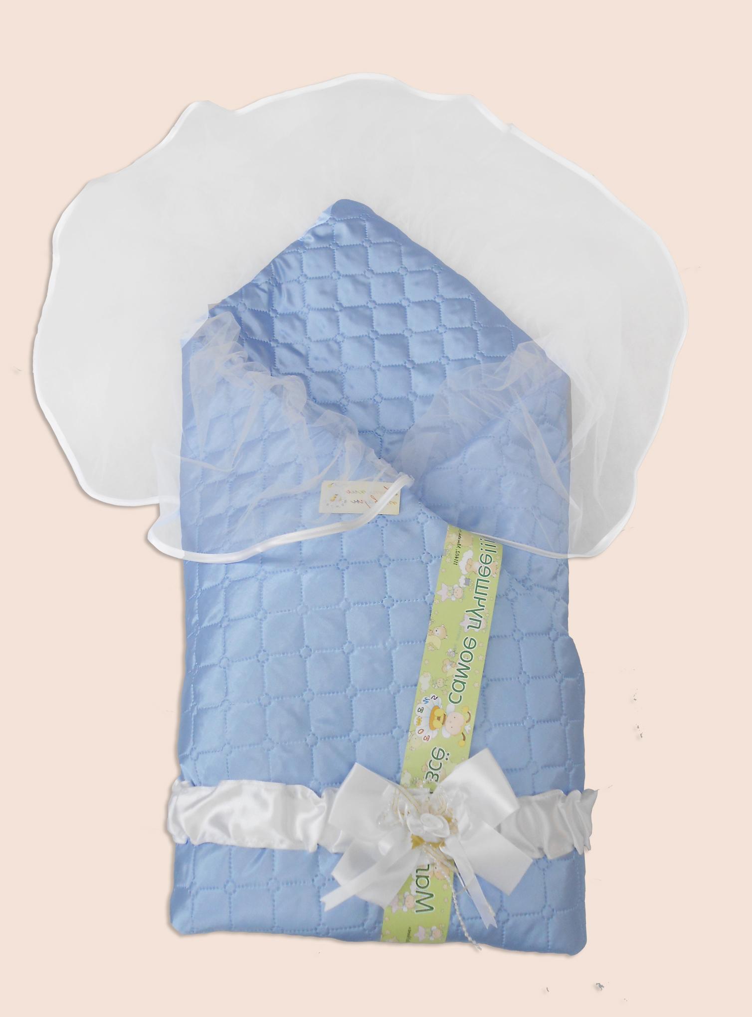 Одеяло на выписку – Мила, голубоеКомплекты на выписку<br>Одеяло на выписку – Мила, голубое<br>
