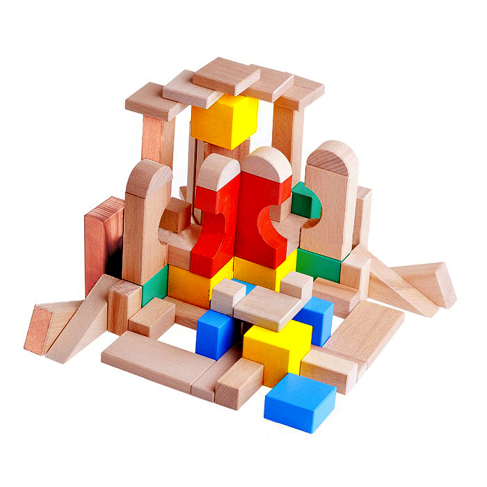Конструктор деревянный цветной, 60 деталей - Деревянный конструктор, артикул: 158377