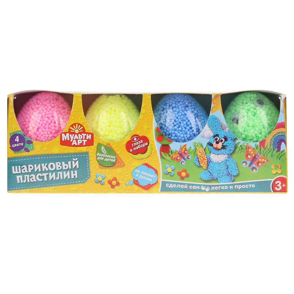 Набор шарикового крупнозернистого незастывающего пластилина 4 цвета в яйцах, глаза фото