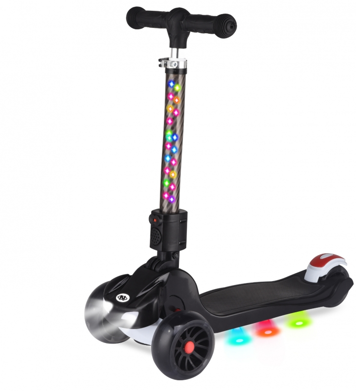 Купить Самокат трехколесный, управление наклоном, PU колеса со светом, складной руль, фары, звук, Navigator