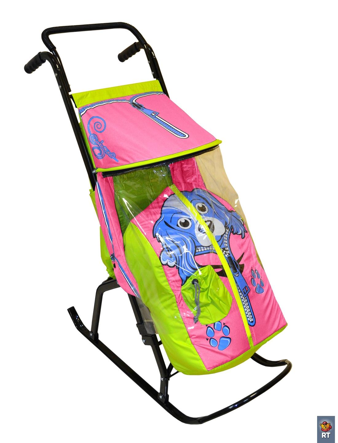 Купить Санки-коляска Снегурочка-2-Р - Собачка, цвет салатовый-розовый, RT