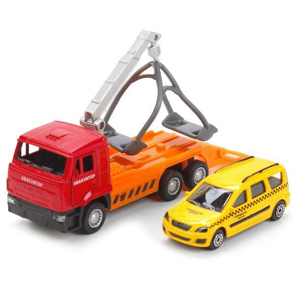 Игровой набор Камаз эвакуатор - инерционный механизм -  и Lada largus таксиГородская техника<br>Игровой набор Камаз эвакуатор - инерционный механизм -  и Lada largus такси<br>